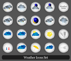 Weather icon sign set. Vector illustration