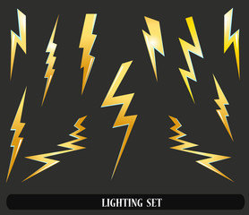 lightning set isolated on black. Vector illustration