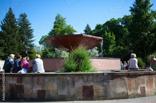 """Leinwanddruck Bild Fontanna """"Grzybek"""",Ciechocinek,Poland"""