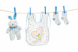 clothesline with baby clothes