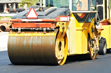 asphalt roller compactor at work