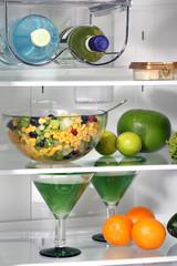 The inside of refrigerators. Full of fresh food refrigerator.
