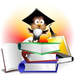 Libri Esame e Gufo Professore-Owl Teacher Cartoon on Books
