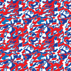 Seamless military pattern with US national flag colors