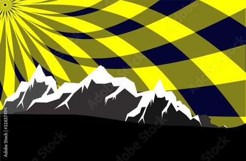 high mountains with abstract sky