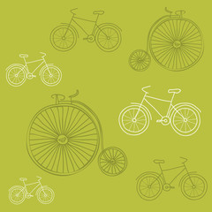 Seamless background with Retro Bicycles - for design and scrapbo