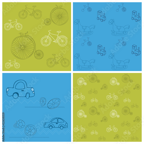 Set of Seamless backgrounds with Bikes and Cars - for design and