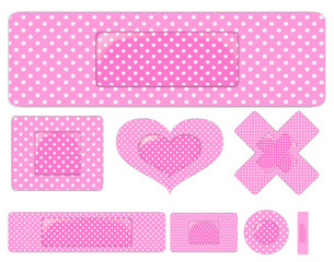 set of pink plasters isolated on white background