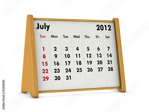 calendar july 2012. july 2012 - desk calendar