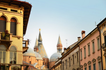 Beautiful old buildings and Saint Anthony Church in Padova