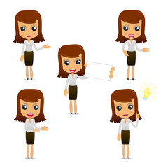 set of funny cartoon businesswoman
