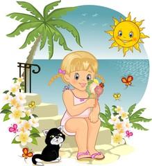 Blond girl eating ice cream