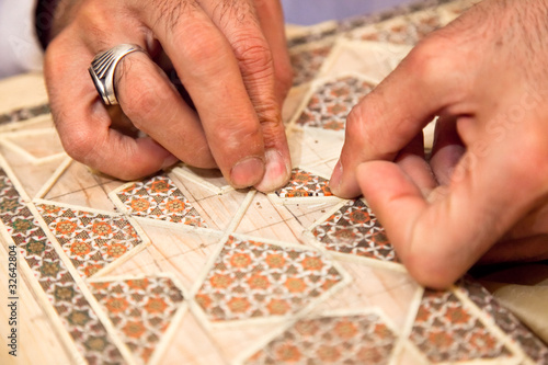 Proces of making traditional Persian mosaic technics khatam