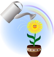 flower and watering can