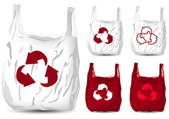 set of recycle white and red plastic bag isolated on white