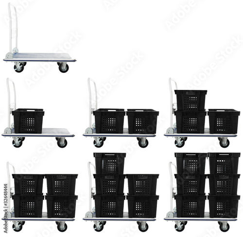Warehouse cart set with plastic containers | Isolated