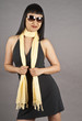 Asian Woman Wearing Sunglasses and Yellow Scarf