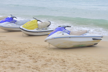 moto boat on beach
