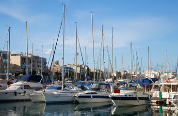 Many yachts lying at  harbour