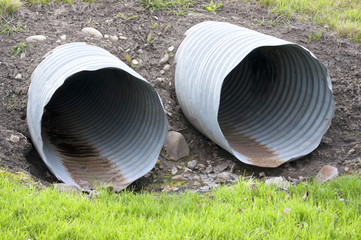 Two blue sewers used for sewage