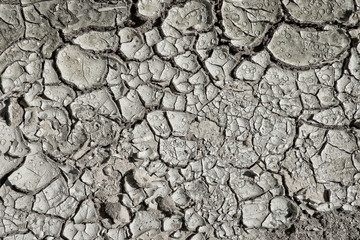 Closeup of dry arid soil with cracks and peeling pieces