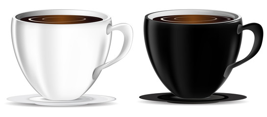 set of black and white coffee cups isolated on white background