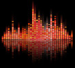 red color digital sound equalize isolated on black background