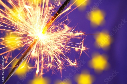 eu flag and sparkler