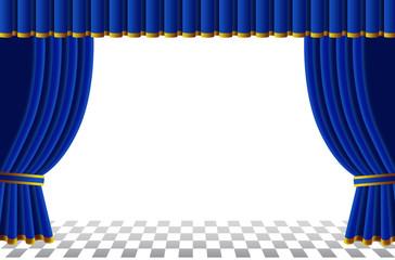 青いカーテンのステージ