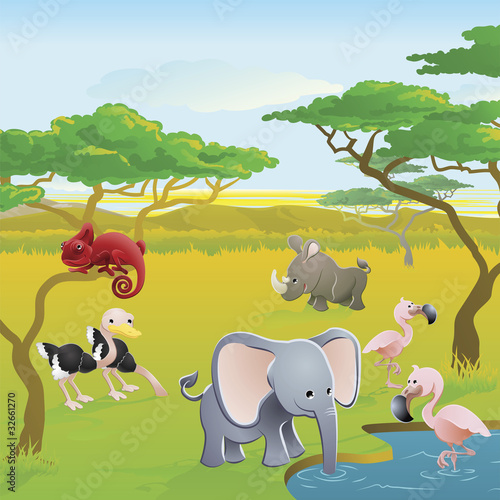 Cute African safari animal cartoon scene