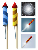 Fireworks rockets with sequence poster