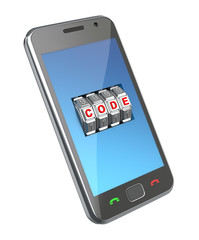 Mobile phone with code mechanism