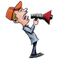 Cartoon man shouts through a megaphone