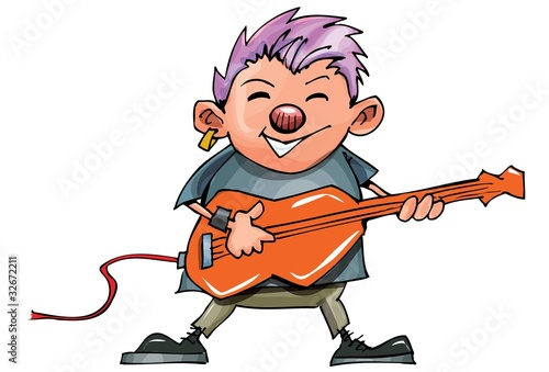 Cute cartoon punk rocker with guitar
