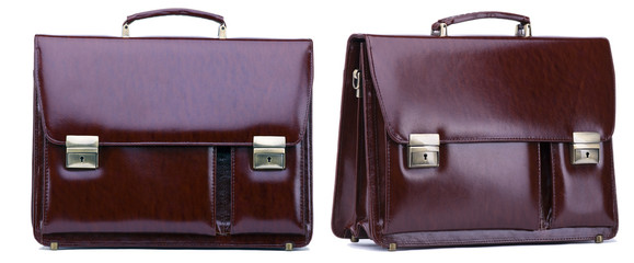 dark brown business case from leather isolated