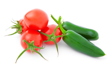 Jalapeno Pepper and tomatos, isolated on white