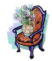 イスと花瓶