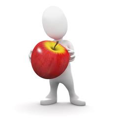 3d  Little man holds an apple