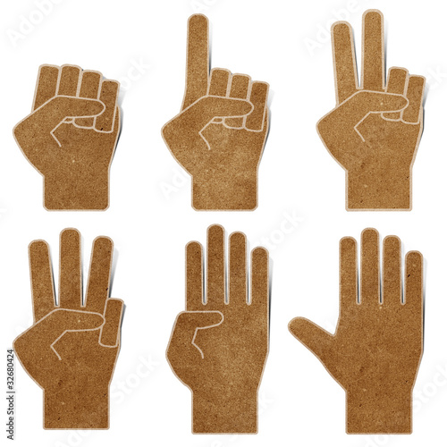 poster of hands recycled paper craft stick on white background
