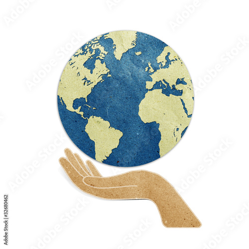 poster of earth in hands recycled paper craft stick on white background