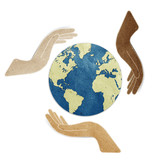 earth in hands recycled paper craft stick on white background poster