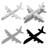 airplane and shadow recycled paper craft poster
