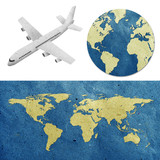 airplane and worlld map recycled paper craft poster