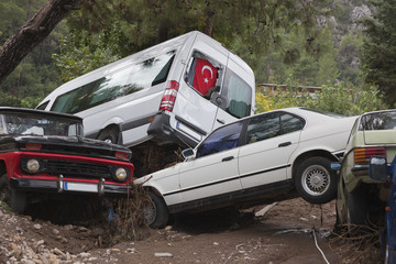 Crashed Cars after Flood Disaster
