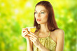 Beautiful Girl Drinking Healthy Green Tea