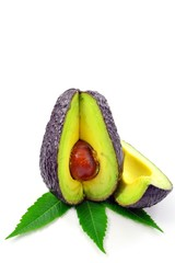 Haas avocado fruit on white background with copy space