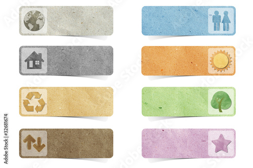 poster of tag recycled paper craft stick on white background