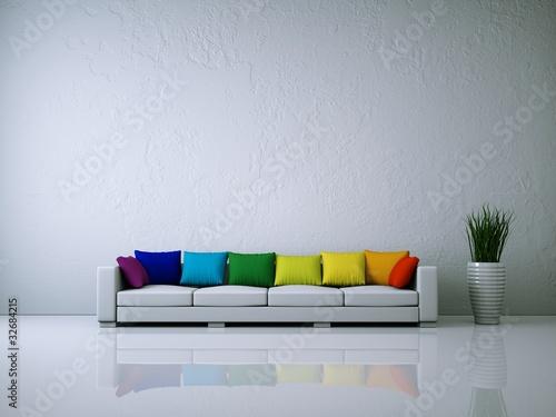Weißes Sofa mit Kissen Regenbogenfarben © virtua73