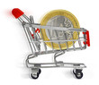 shopping cart with euro coin