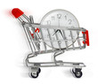 shopping cart with clock on white background